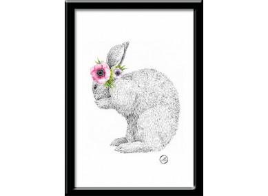 Affiche Lapin fleurs